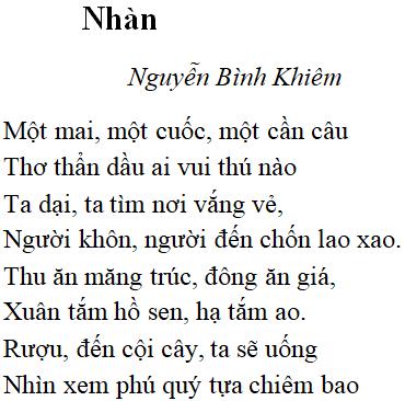 bài thơ nhàn