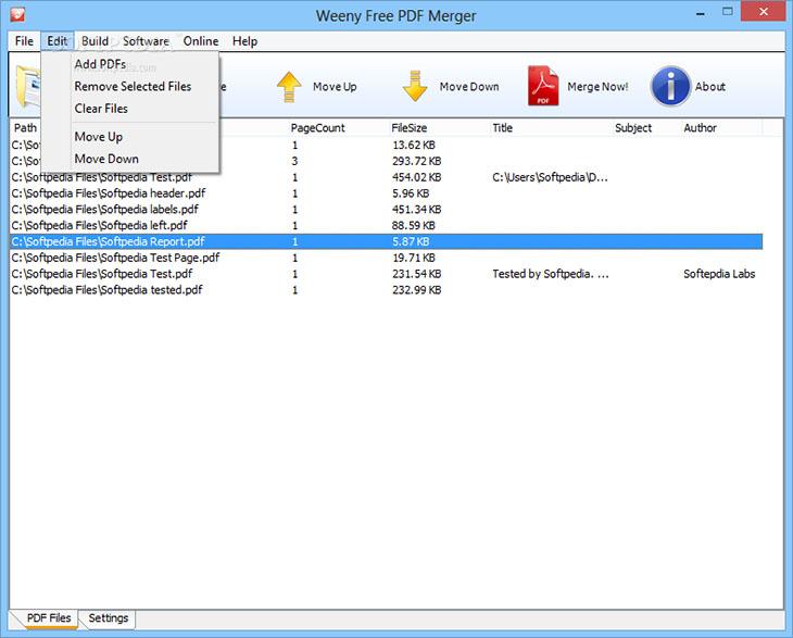 Phần mềm Weeny Free PDF Merger